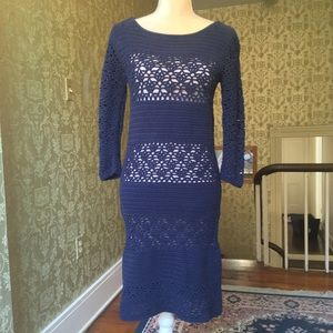 Dark blue Boden knit sweater dress (no slip), sz 6